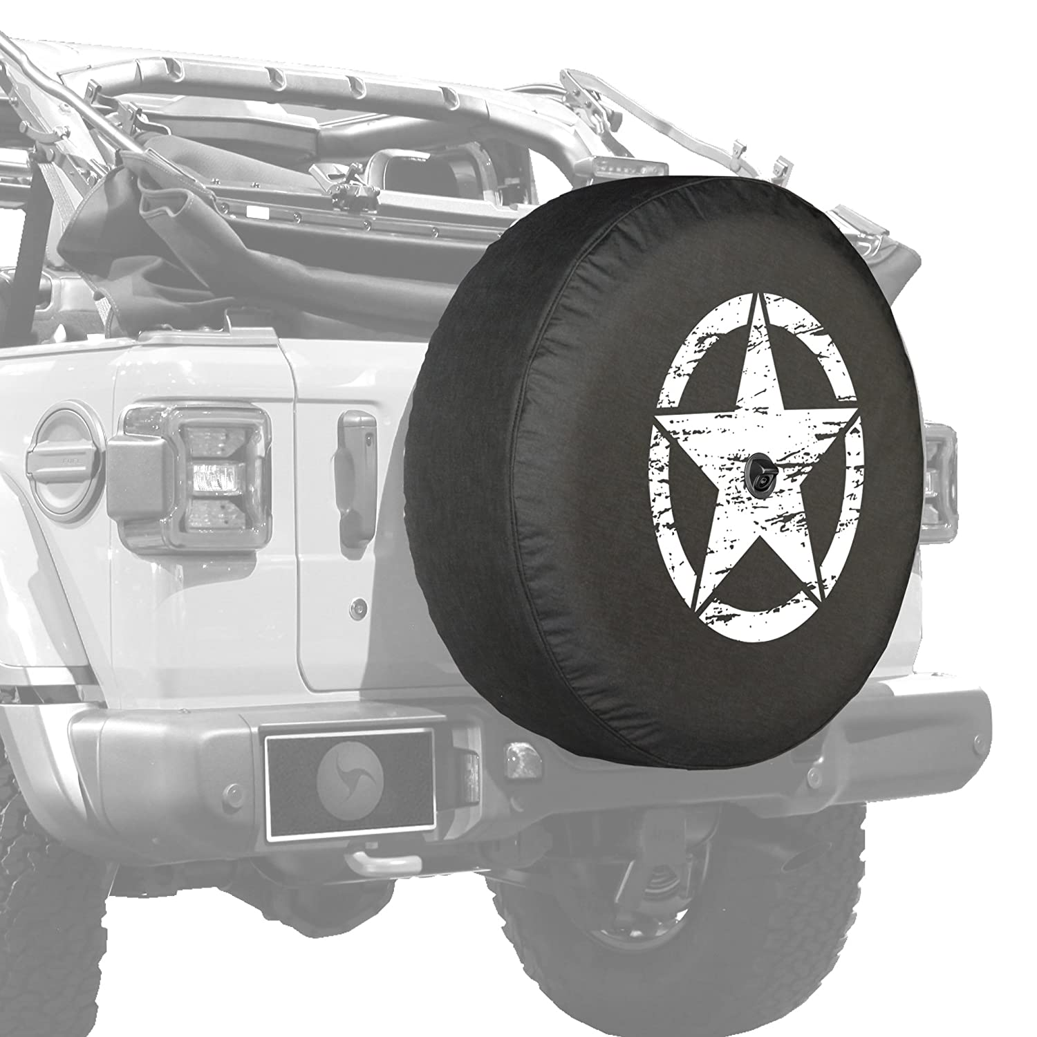 Jeep Wrangler Rubicon JL - 33' Soft JL Tire Cover - Distressed Star - Green Print - Made in The USA Boomerang Enterprises Inc.