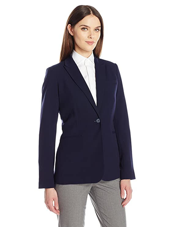 Calvin Klein Women's Single Button Suit Jacket, Twilight, 8 best women's blazers