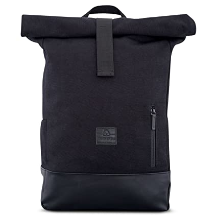 Canvas Backpack Men   Women Black - JOHNNY URBAN Cotton   Vegan Leather  Roll Top Daypack 0e72e2ea3549c