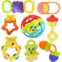 WISHKEY Colourful 7 Rattles and 1 Teether Toy Set