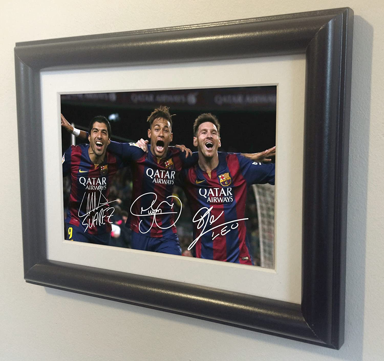 Signed Black Soccer Lionel Messi Neymar Jr Suarez Barcelona Autographed Photo Photograph Picture Frame Gift SM kicks