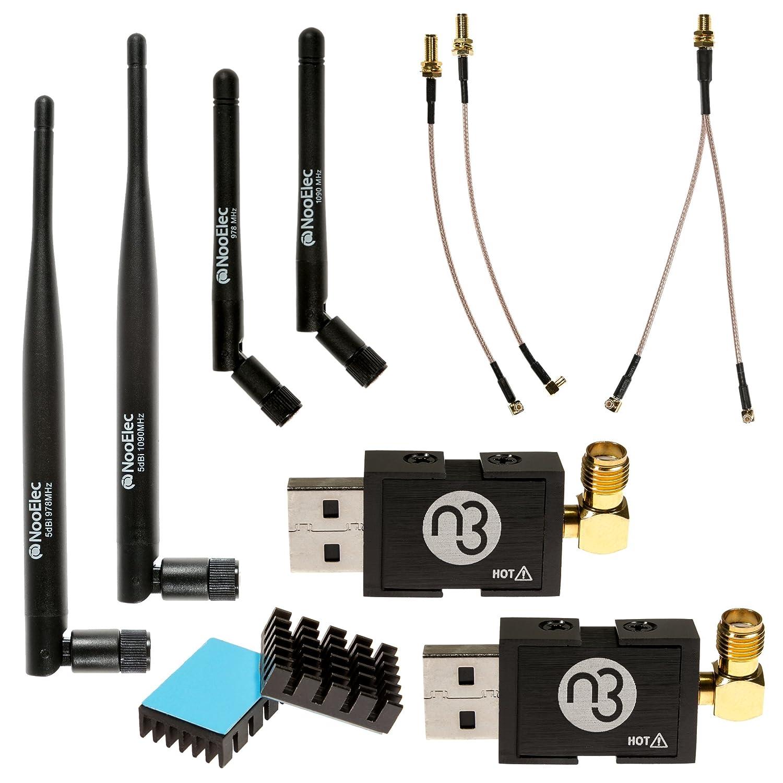NooElec Dual-Band NESDR Nano 3 Premium ADS-B (978MHz UAT y 1090MHz 1090ES) Paquete para Stratux, Avare, Foreflight, FlightAware y otras Aplicaciones. Incluye 2 SDR, 4 Antenas, 5 Adaptadores. NooElec Inc. Dual Band NESDR Nano 3 Bundle