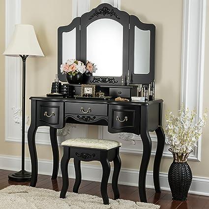 Vanity Set.Fineboard Fb Vt04 Bk Vanity Set Beauty Station Black Amazon Ca