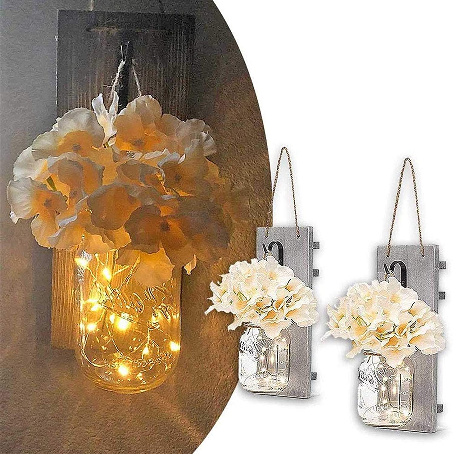 BESTEASY Rustic Wall Sconces, Sconce Home Wall Decor Set of 2 Mason Jar Sconces Country Home Mason Jar Wall Sconce with 30 LED Fairy Lights for Home and Kitchen Decorations