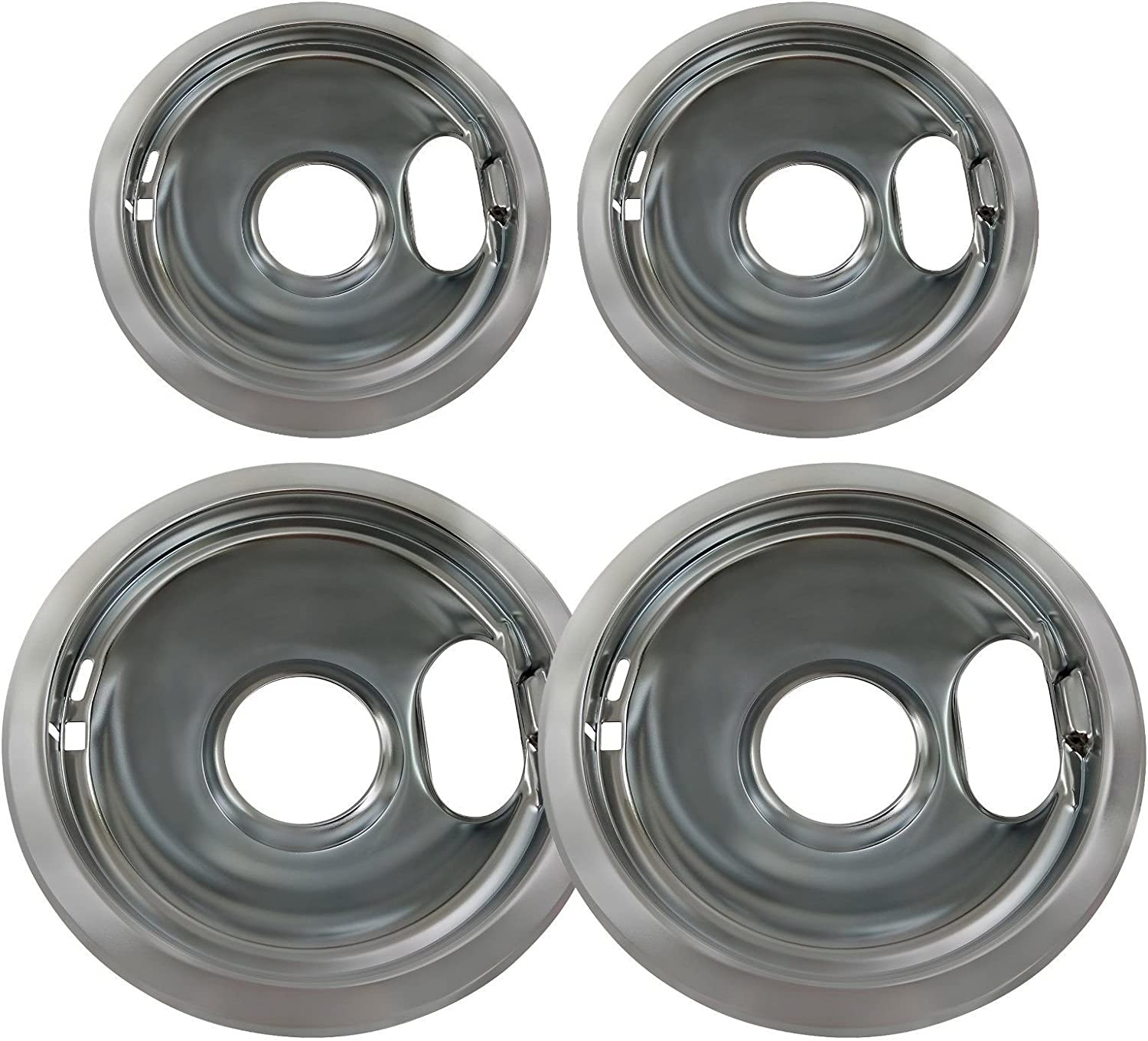 Chrome Drip Pan Set Replacement for Whirlpool W10278125 Two 6-Inch & Two 8-Inch Gxfc