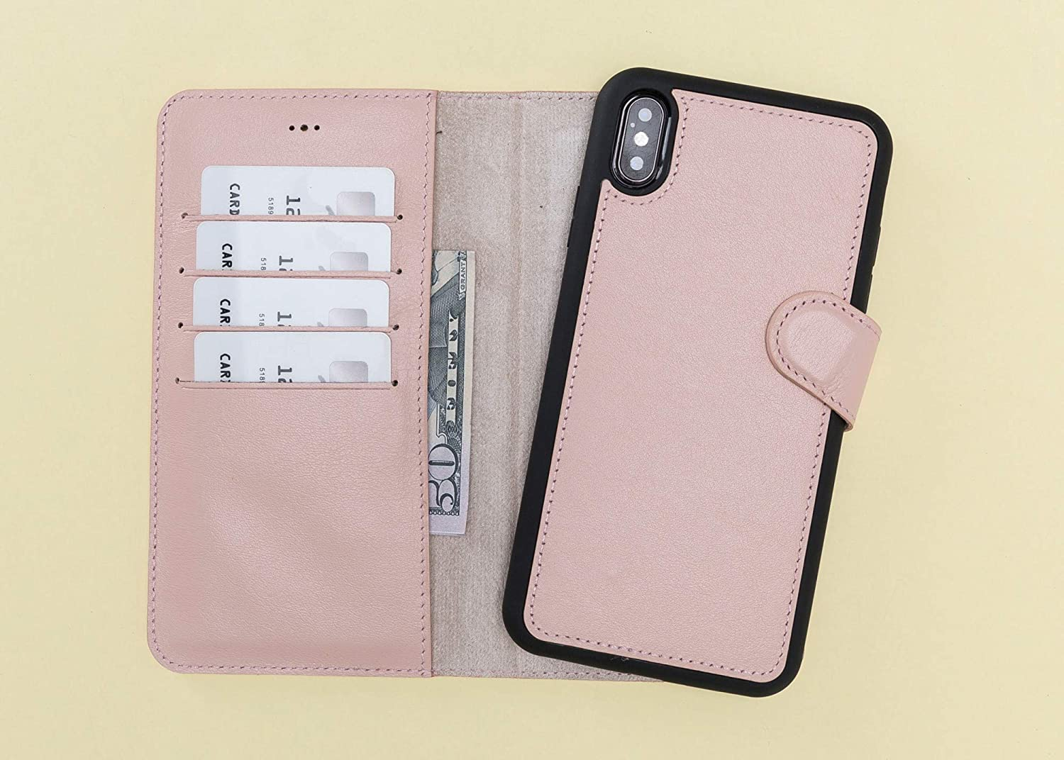 Pink iPhone XS Max Case Genuine Leather Magnetic Detachable, Wallet for All iPhone Series Ready to Ship Engraving Avaliable, Express Shipping, 2-3 Business days Delivery, High Quality,
