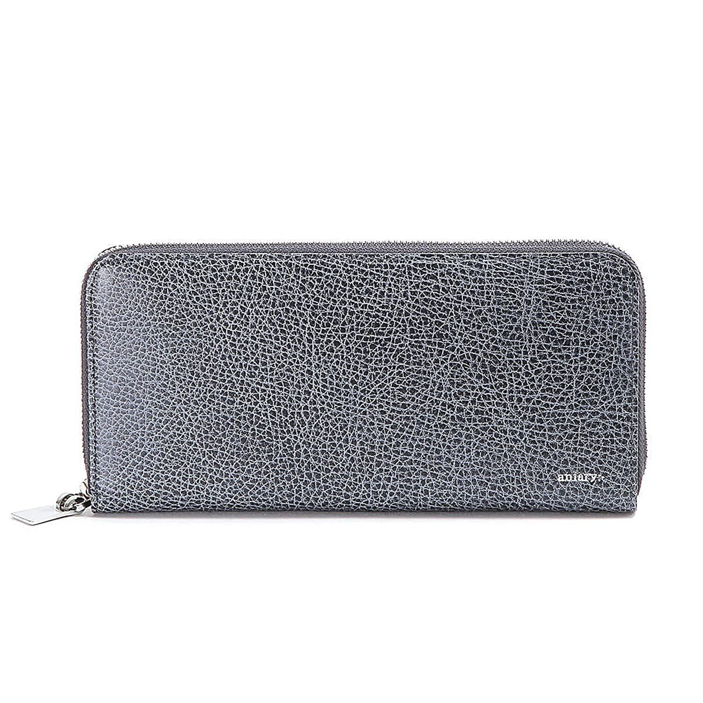 アニアリ 長財布 ラウンドL Zip Bill Holder Grind Leather 15-20003 B077TDR7HQNavyGray