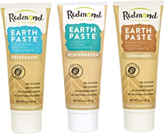 product image for REDMOND - Earthpaste All Natural Non-Fluoride Vegan Non GMO Real Ingredients Toothpaste, Wintergreen, 4 Ounce Tube (Variety Pack 3 Pack, Peppermint, Wintergreen, CIN))