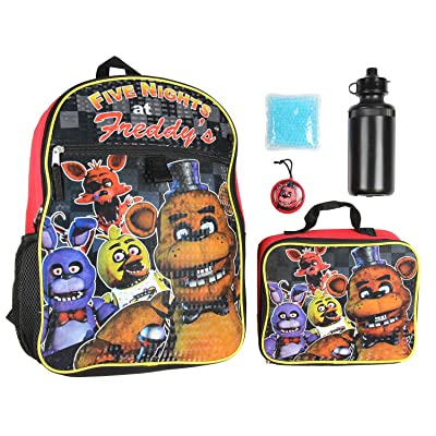 """Five Nights At Freddy's 16"""" School Backpack Lunch Box Water Bottle Lunch Kit -5 Piece Set 