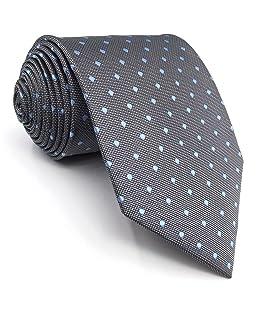 shlax&wing Nouveau Design Points Neckties For Men Gris Bleu Soie Homme Cravate Costume d'affaires