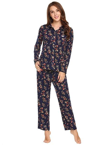 22f015951fe Ekouaer Women s Cotton Long Sleeve Pajama Set Sleepwear at Amazon ...
