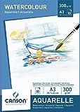 Canson 200005790 - Bloc de papel para acuarela (A3, 29.7 x 42 cm, 300 gsm), color blanco