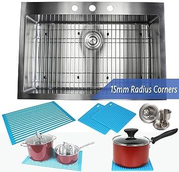 33 inch topmount   drop in stainless steel kitchen sink package  u2013 16 gauge single bowl 33 inch topmount   drop in stainless steel kitchen sink package      rh   amazon com