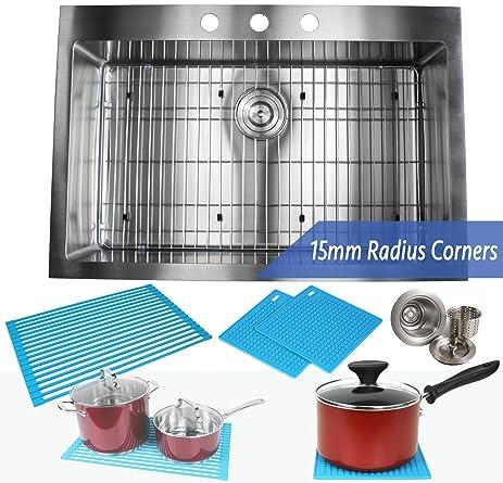 33 Inch Topmount / Drop In Stainless Steel Kitchen Sink Package ...