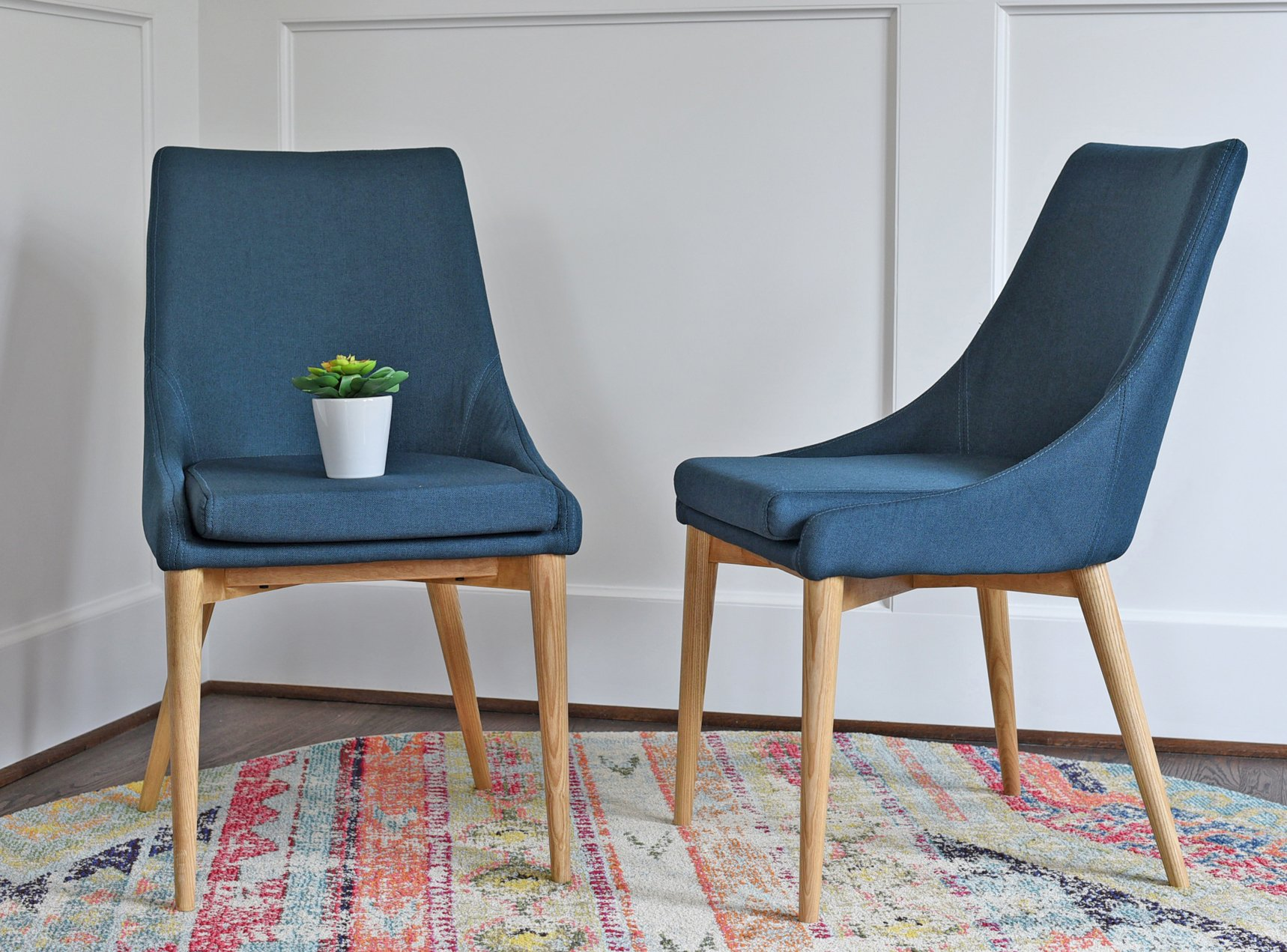 Upholstered Modern Dining Room Chairs - Mid Century Dining Table Chairs - Teal Blue Fabric - Set of 2 - EDLOE FINCH