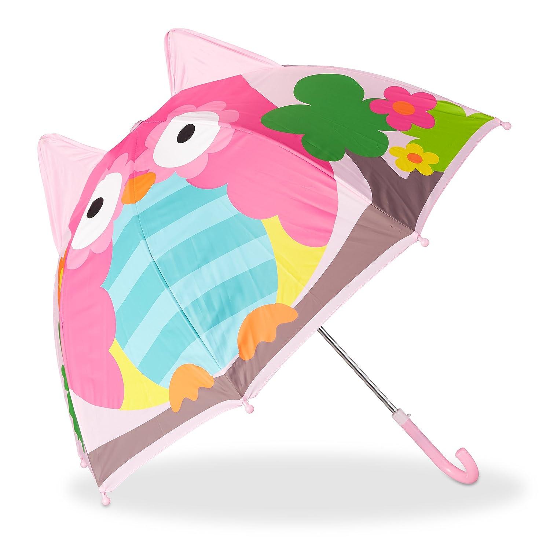 Relaxdays Kinderregenschirm 3D Schmetterling, Regenschirm f. Mädchen, kleiner leichter Stockschirm in Glockenform, rosa Regenschirm f. Mädchen 10022286_624