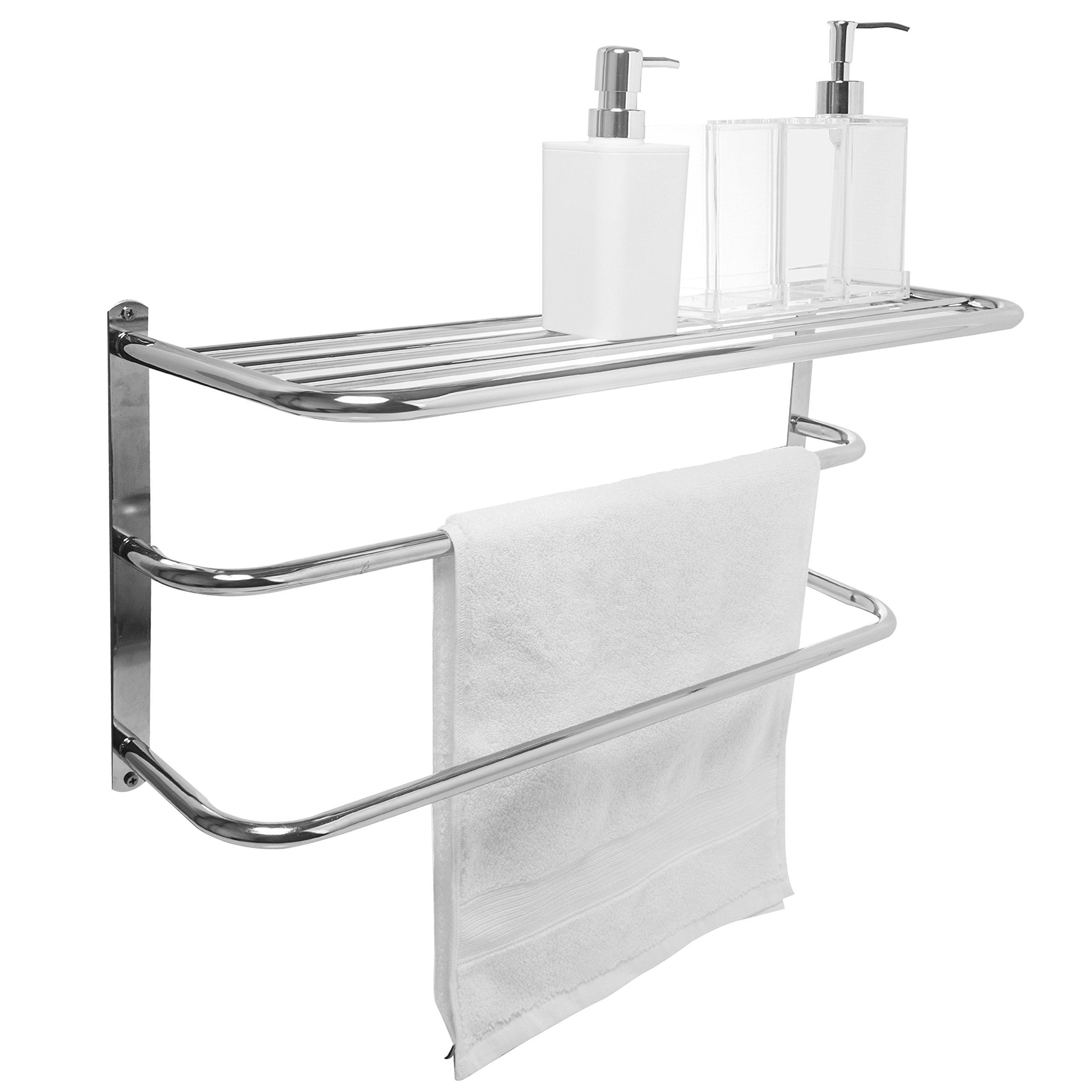 Details about Wall Mounted 2 Bar Towel Rack Storage Shelf 3 Tier Chrome Bathroom Organizer