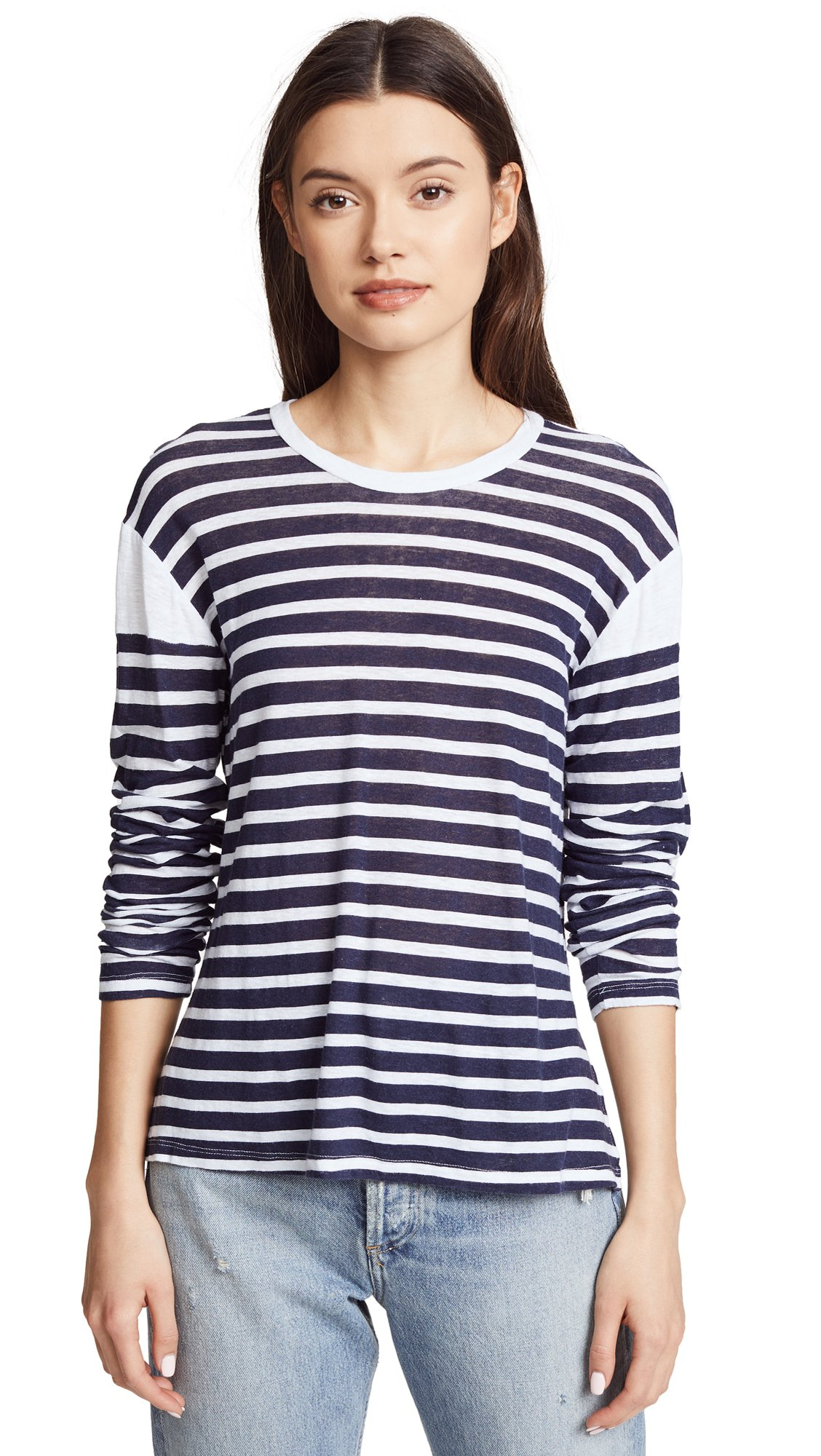 Monrow Women's French Stripe Tee, Navy White Stripe, Extra Small