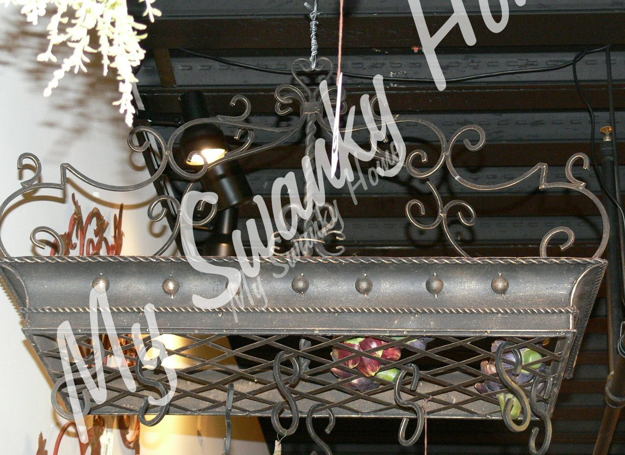 Large Wrought Iron Post Scroll Pot Rack | Hanging Pan Ceiling Gothic