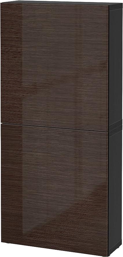 IKEA BESTA - Armario de pared con 2 puertas Negro-marrón ...