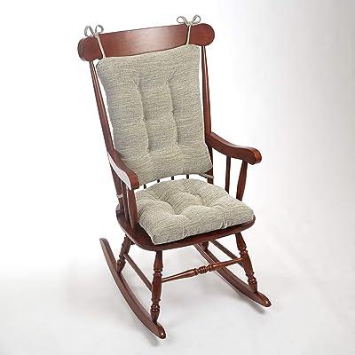 """Klear Vu Sandro XL Gripper Non-Slip Extra Large Overstuffed Rocking Chair Pad Set, 17"""" x 17"""", Gray: Home & Kitchen"""