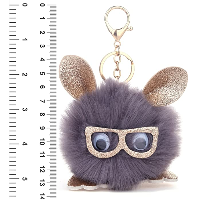 Amazon.com  BodyJ4You 2PCS Faux Fur Keychain Grey Pom Pom Fluffy Fox Ball  Purse Wallet Car Key Clasp Ring Set  Jewelry 02cfe897ab280