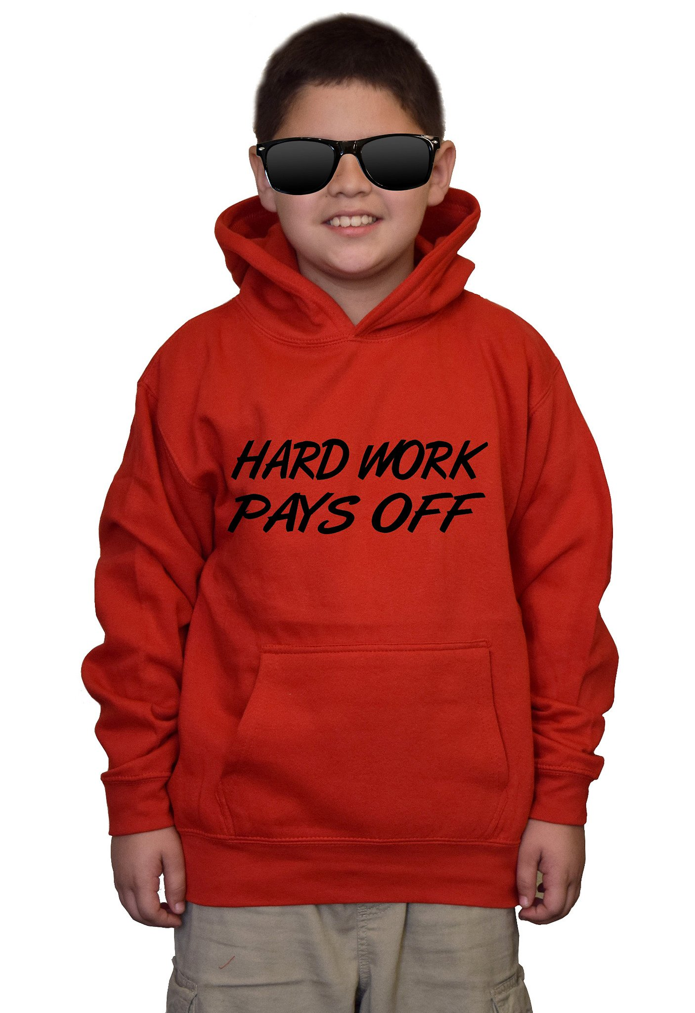Youth Hard Work Pays Off V438 Red kids Sweatshirt Hoodie Small by Interstate Apparel