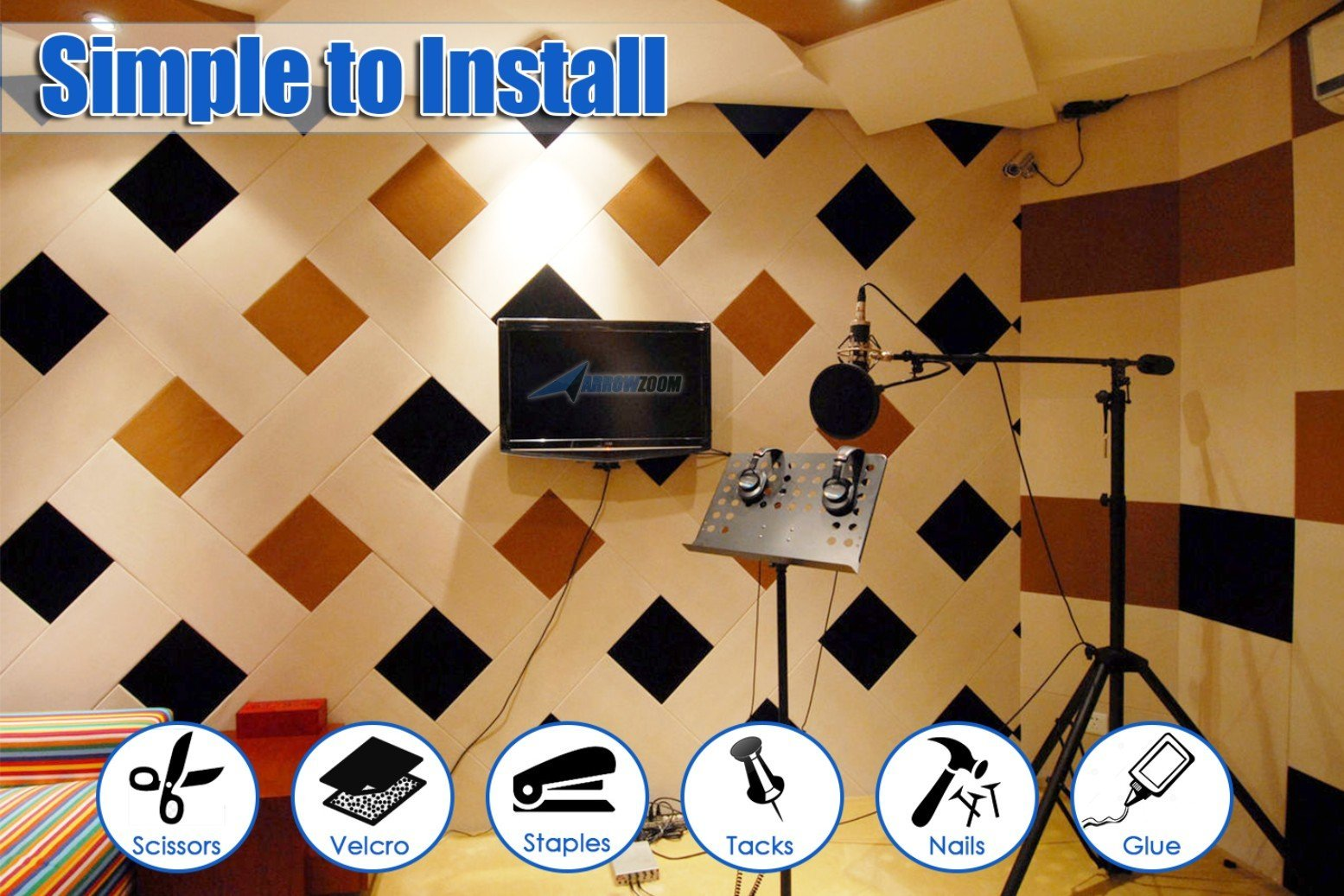 Arrowzoom New 8 Pieces 12 X 12 X 0.4 inches White Acoustic Soundproofing Insulation Panel Tiles AZ1093 (White) by Arrowzoom (Image #7)
