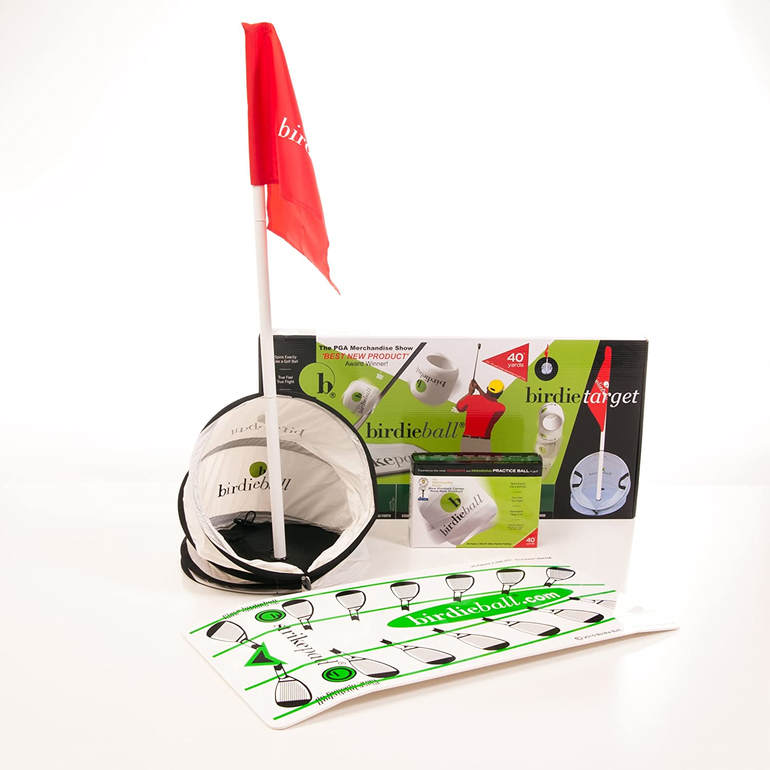 BirdieBall Set: Practice Golf Balls, Strike Pad and Birdie Target | 1 Dozen Full Swing Limited Flight Practice Balls, Training Strike Mat, and Practice Target