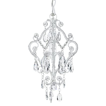 Tiffany mini white 1 light chandelier small crystal beaded plug in swag nursery pendant