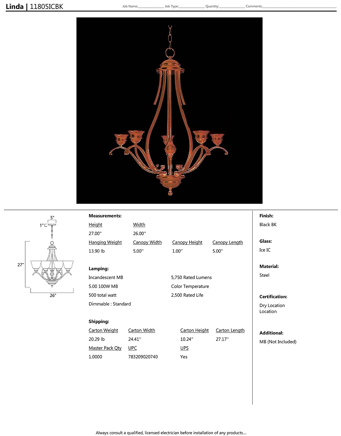 Standard Dimmable Maxim 11815ICBK Linda 5-Light Chandelier Opal Glass Shade Material MB Incandescent Incandescent Bulb Dry Safety Rating 100W Max. Black Finish Ice Glass 1150 Rated Lumens Maxim Lighting