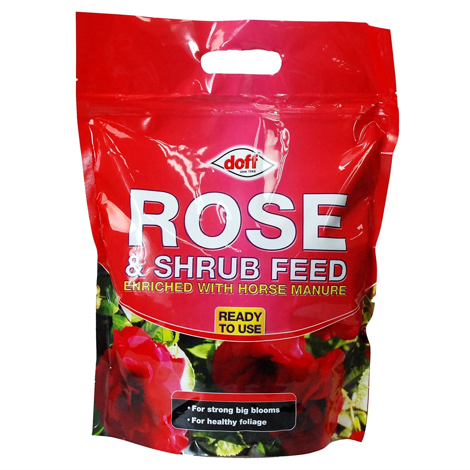 Rose & Shrub Feed enriched with horse manure for strong healthy roses Doff