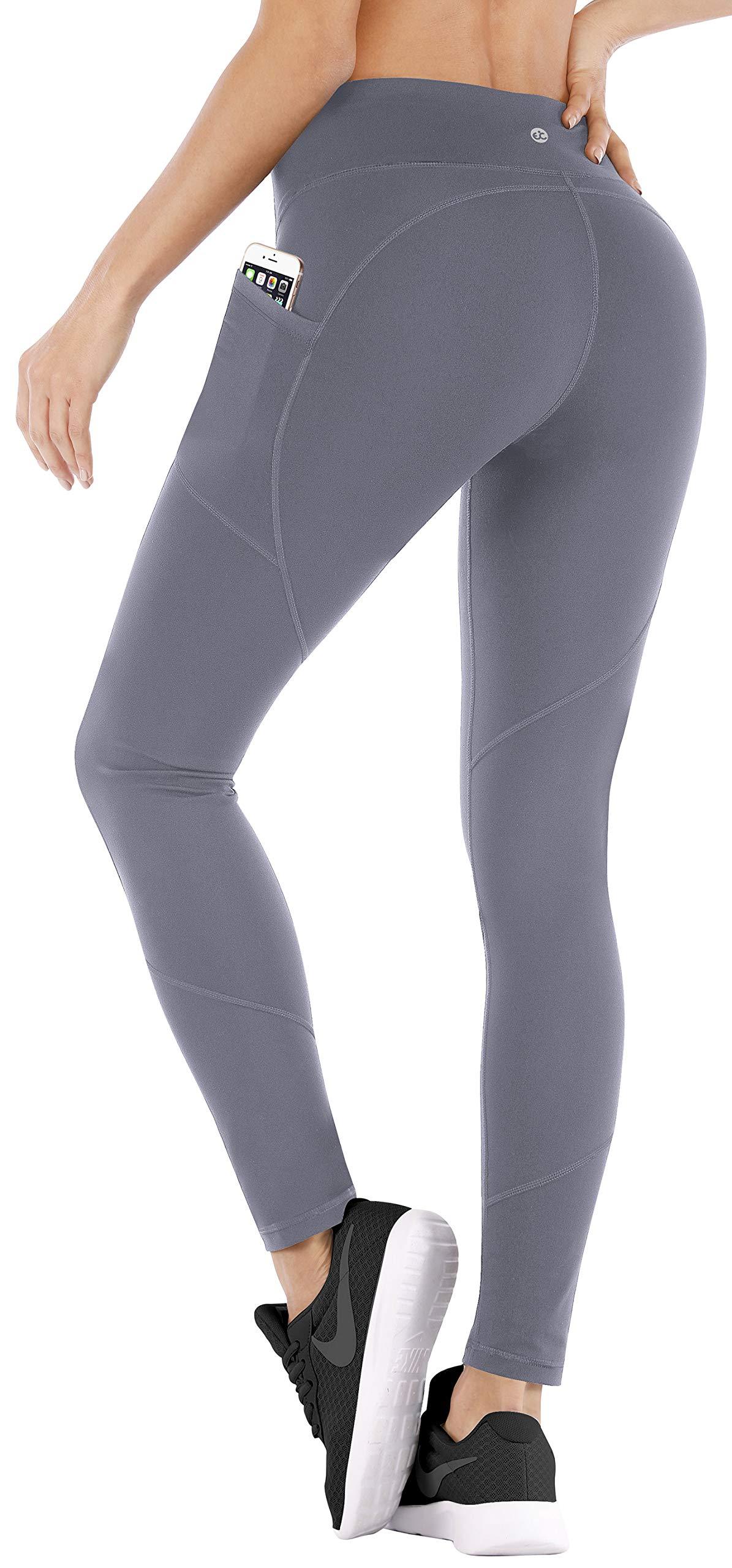 Ewedoos Yoga Pants with Pockets for Women Ultra Soft Leggings with Pockets High Waist Workout Pants (Ew330 Gray, X-Large) by Ewedoos