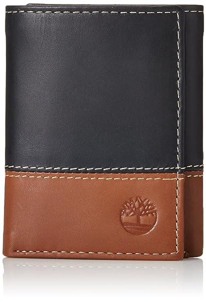b8ef88bd9d34 Timberland Men's Hunter Colorblocked Trifold Wallet, Black/Brown, One Size