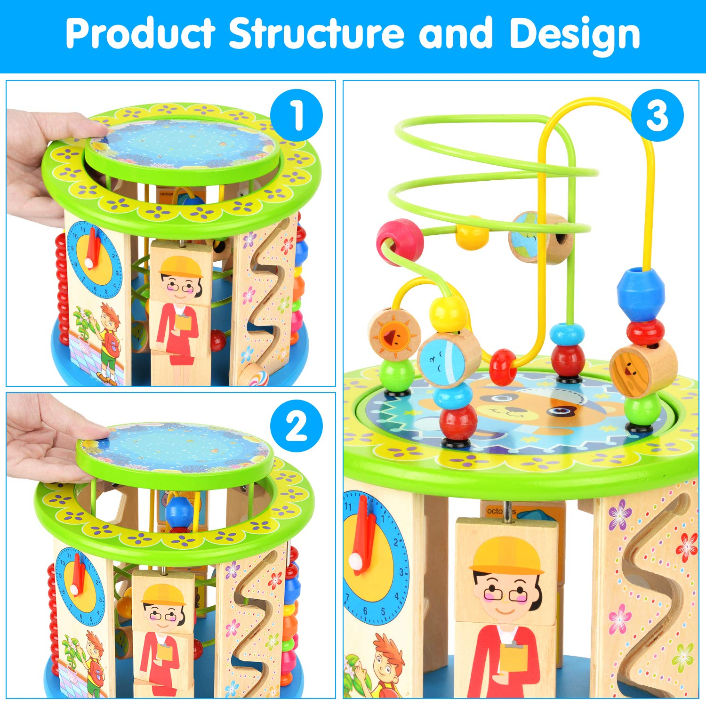Dkinghome Cube de Bois dactivit/é Jouets en Bois Activit/é Cube Perle Labyrinthe 10 en 1 Jouets /Éducatifs Multi-usages pour Enfants