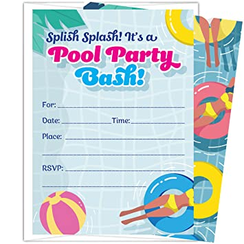 amazon com pool party invitations for kids 25 invites and