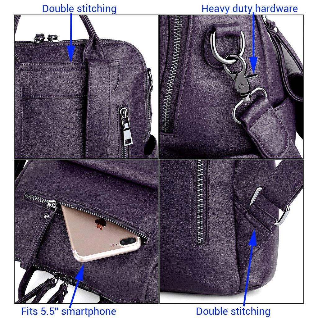 8462baab65245 UTO Damen Rucksack Geldbörse 3 Möglichkeiten PU gewaschen Leder Damen  Rucksack Schultertasche blau 18000183-7 größeres Bild