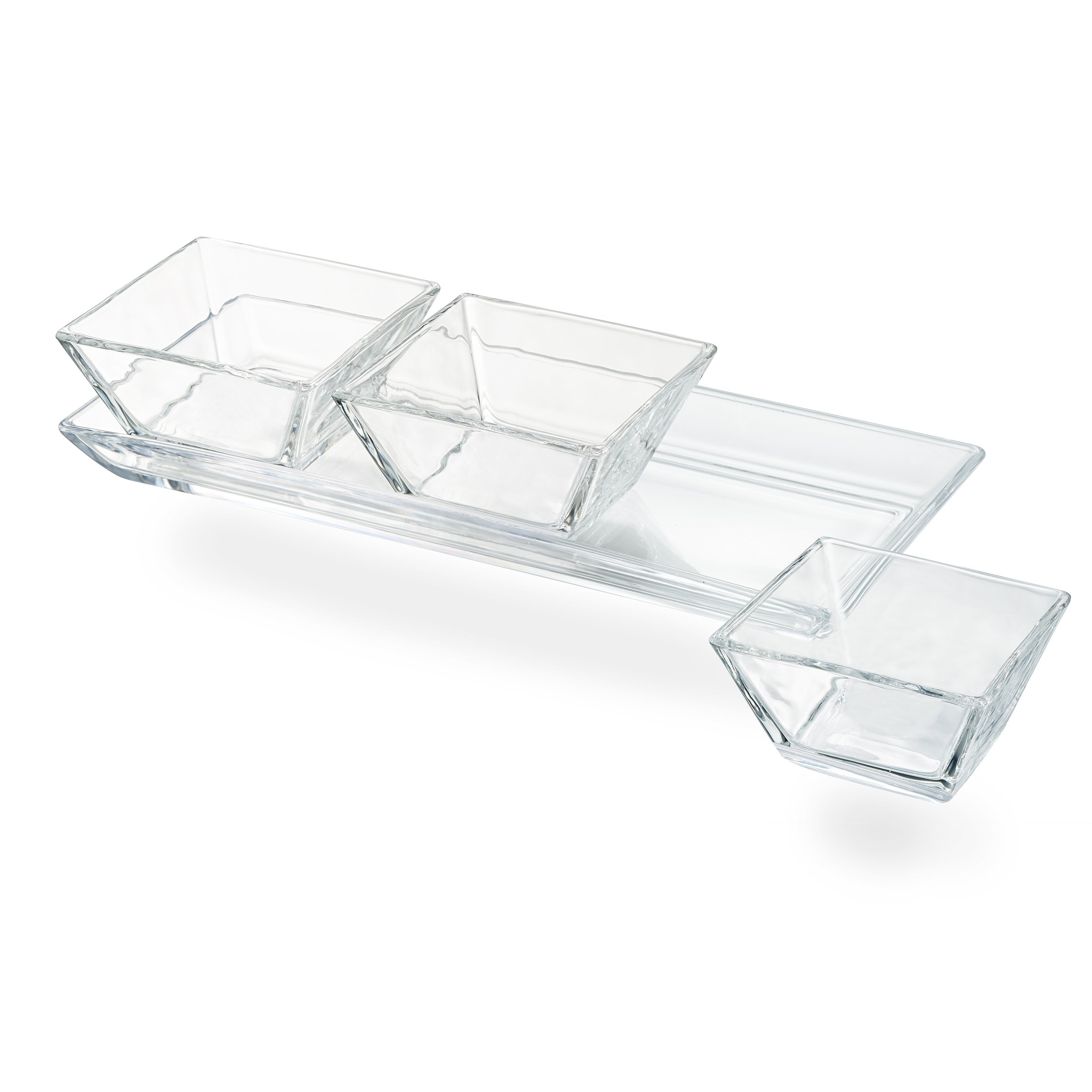 Artland Cortland 3 Section Tray with Square Bowls, Small, Glass