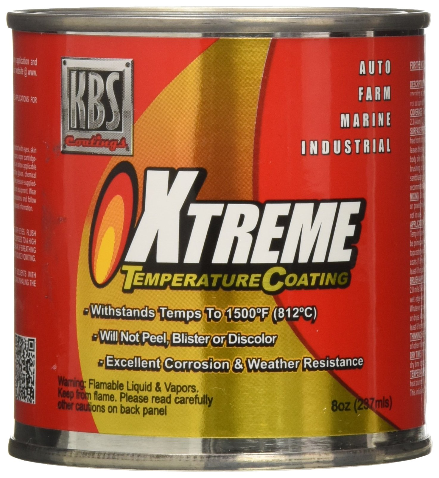 KBS Coatings 65225 Charcoal Metallic Xtreme Temperature Coating - 8 fl. oz.