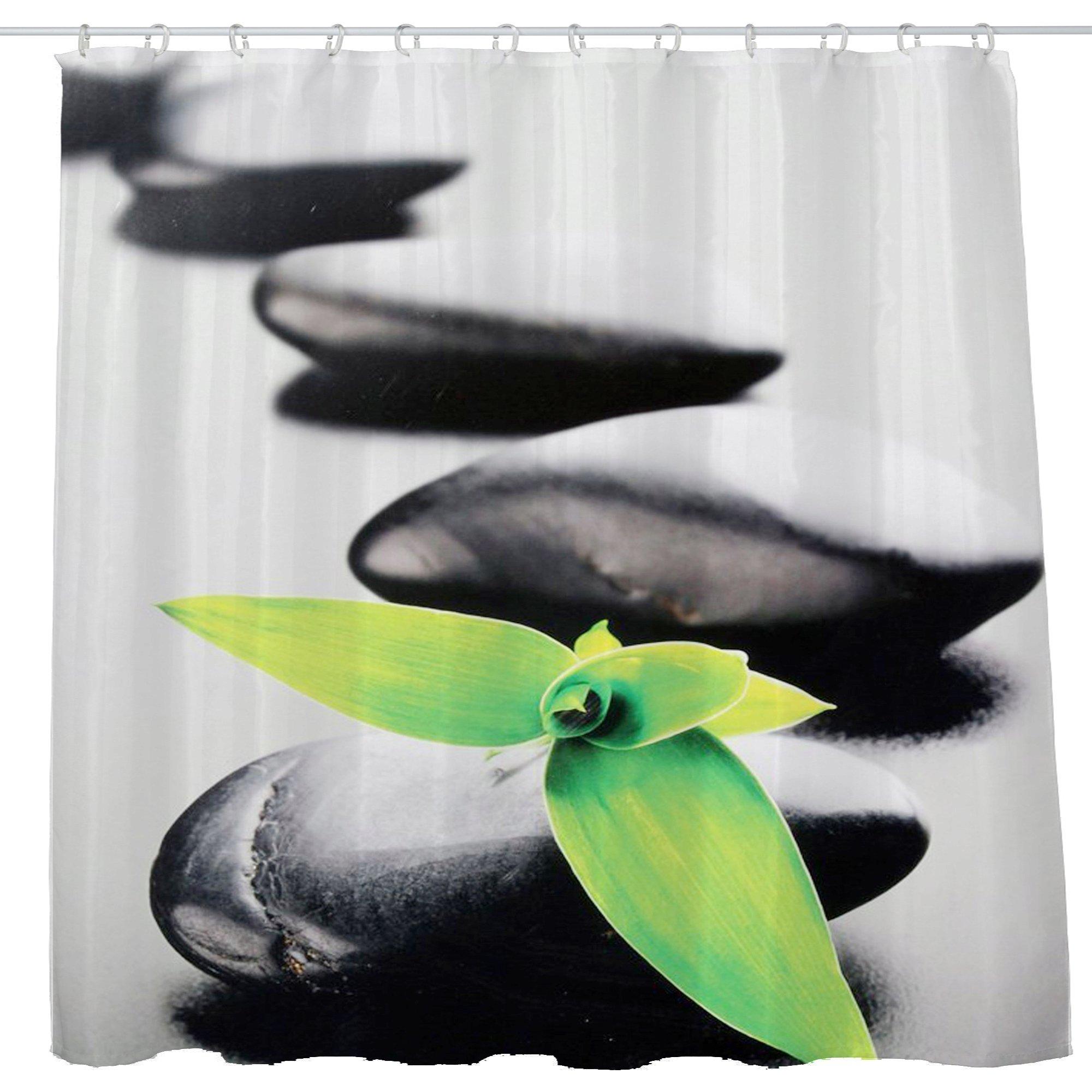 DJSBZ Shower Curtain Waterproof Non-Toxic Polyester Decoration Washing Room 12 Self Grommets Plastic Rings Zen Stone Garden Rocks Spa Bamboo Fountain Yoga 72x72 inch (180x180cm) (08)