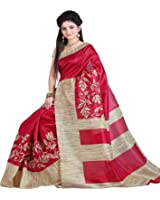 Aarvicouture Women's Cotton Silk Saree With Blouse Piece (Ac-Sr-7805_Beige)