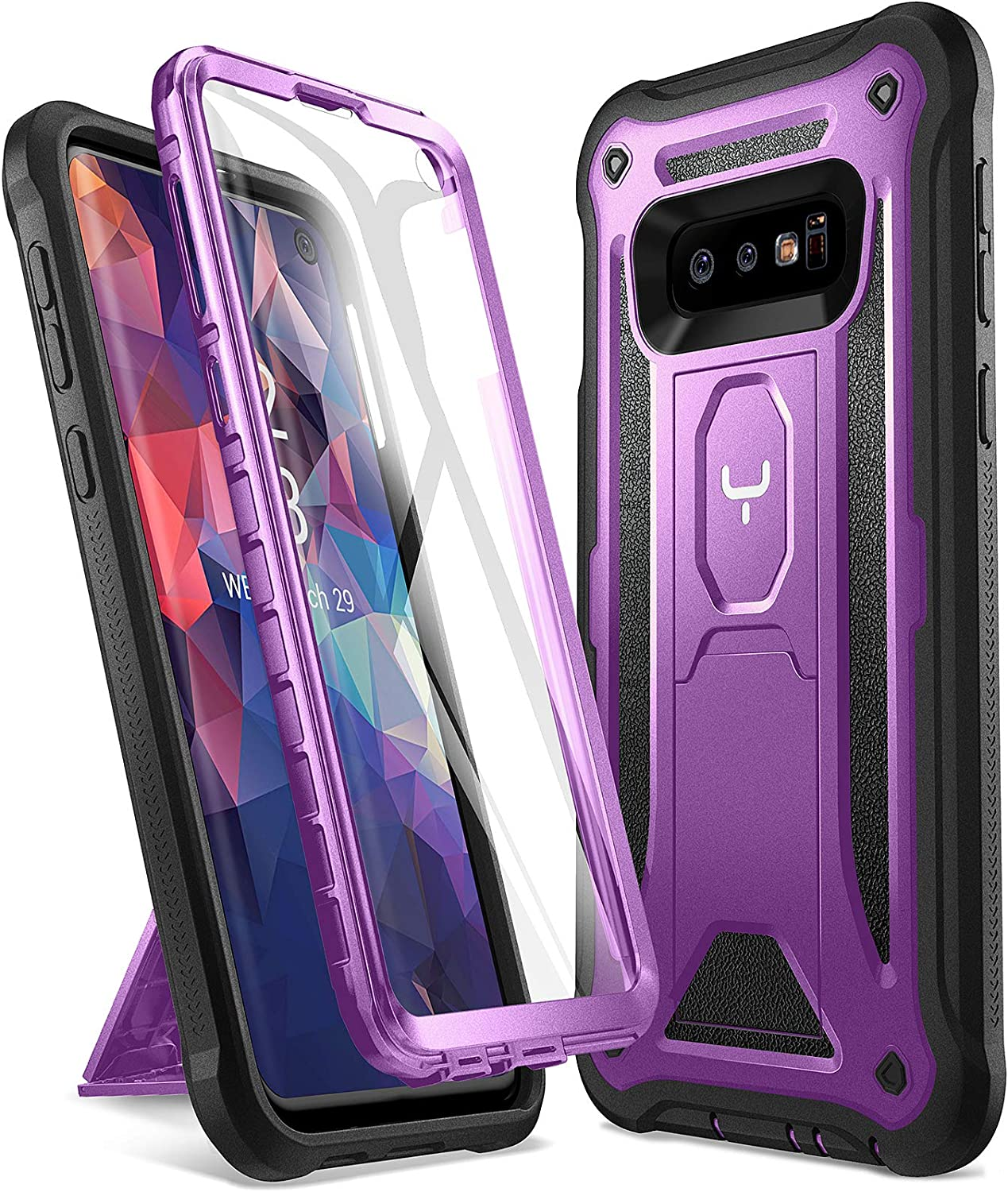 YOUMAKER Case for Galaxy S10e, Kickstand Case with Built-in Screen Protector Heavy Duty Protection Shockproof Full Body Slim Fit Cover for Samsung Galaxy S10e 5.8 inch - Purple