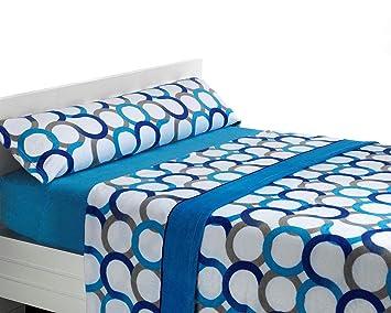 SABANALIA Juego de sábanas de coralina Aros - Cama 200, Azul: Amazon.es: Hogar