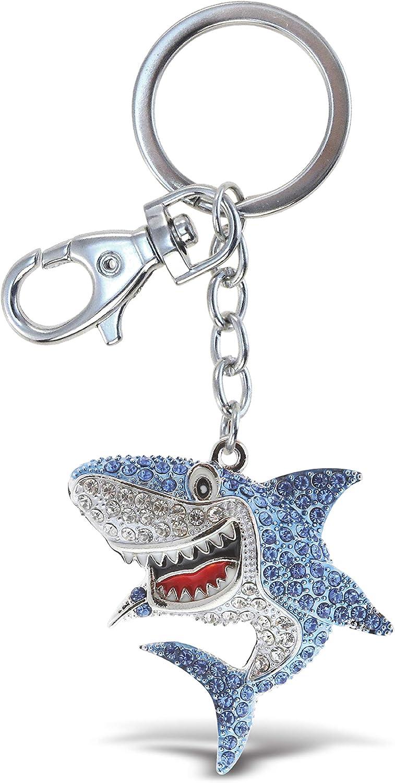 Aqua79 Shark Keychain - Silver 3D Sparkling Charm Rhinestones Fashionable Stylish Metal Alloy Durable Key Ring Bling Crystal Jewelry Accessory With Clasp For Key Chain, Bag, Purse, Backpack, Handbag