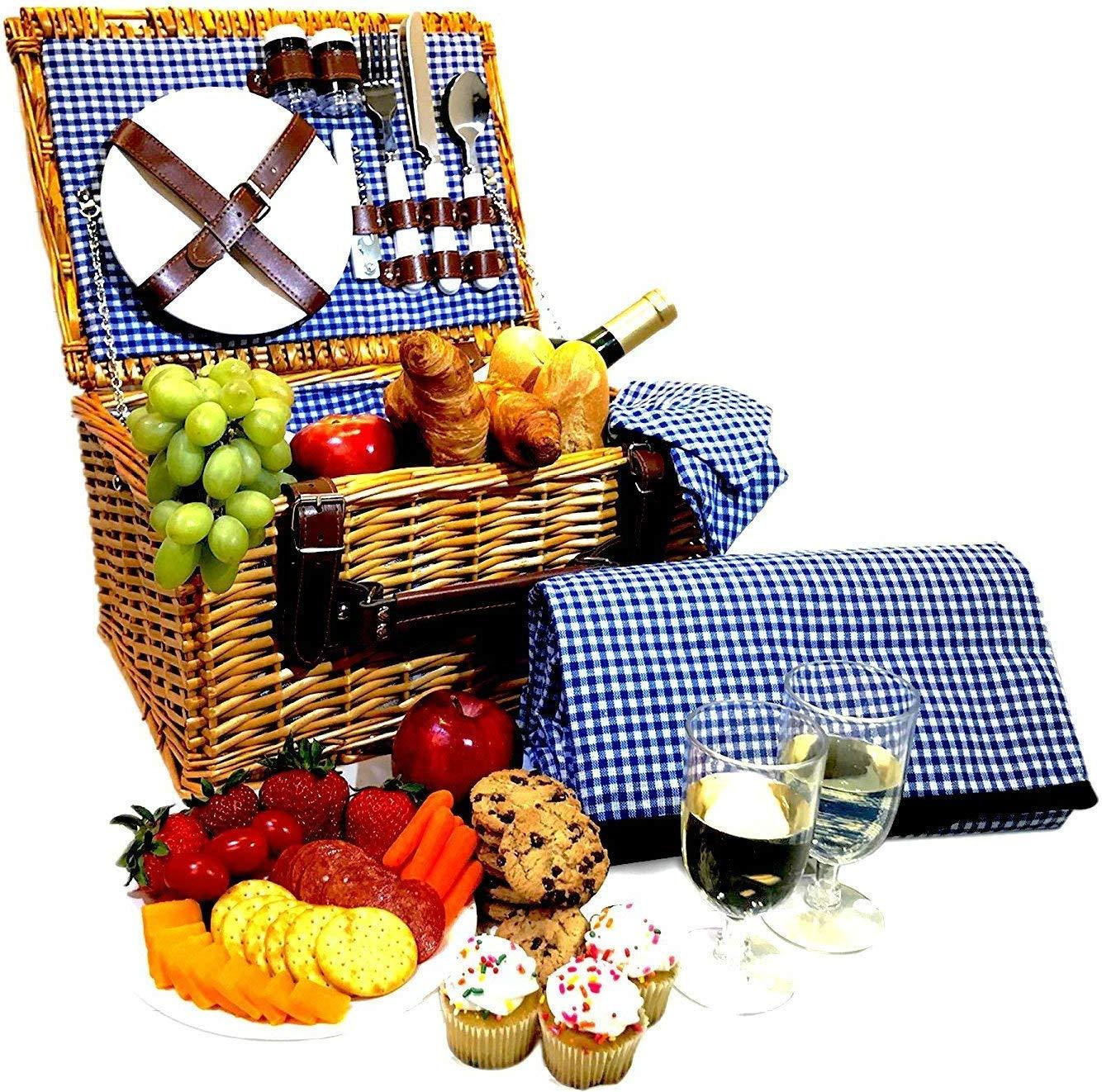 Picnic Basket Set 2 Person Hamper Set Waterproof Blanket Ceramic Plates Metal Flatware Wine Glasses S/P Shakers Bottle Opener Blue Checked Pattern Lining
