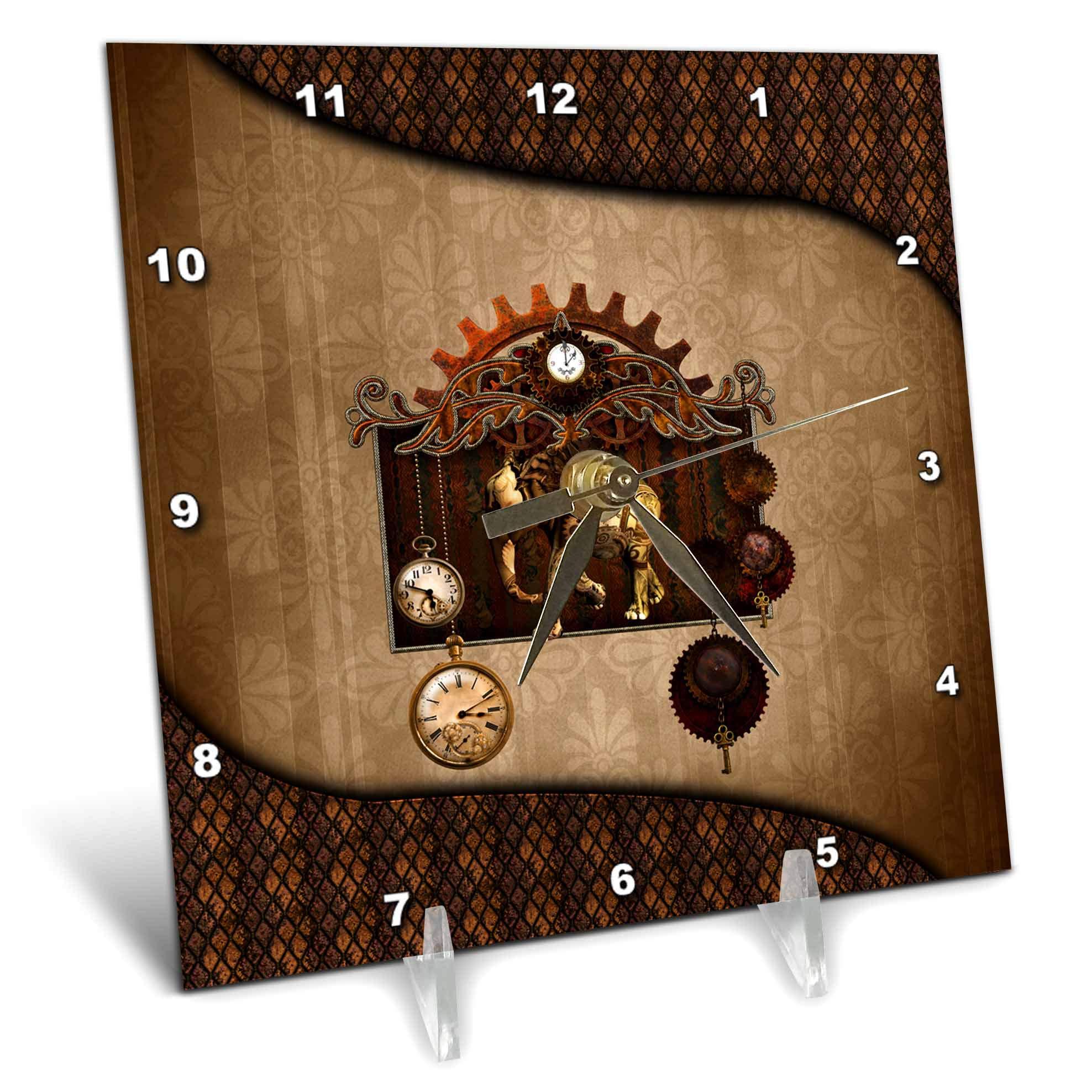 3dRose Heike Köhnen Design Steampunk - Awesome steampunk elephant clocks and gears - 6x6 Desk Clock (dc_289170_1)