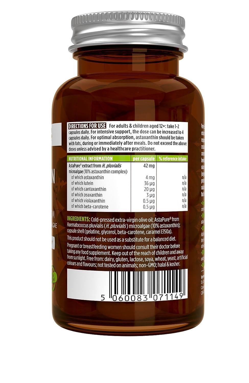 Amazon.com: Pure Essentials Astaxanthin Complex, 42 mg Astapure Providing 4 mg H. Pluvialis Astaxanthin, 90 Capsules: Health & Personal Care