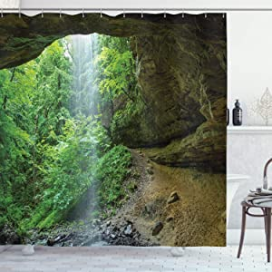 Ambesonne Nature Shower Curtain, Canyon Michigan Caves Memorial Falls in The Forest Eco Foliage Picture, Cloth Fabric Bathroom Decor Set with Hooks, 70