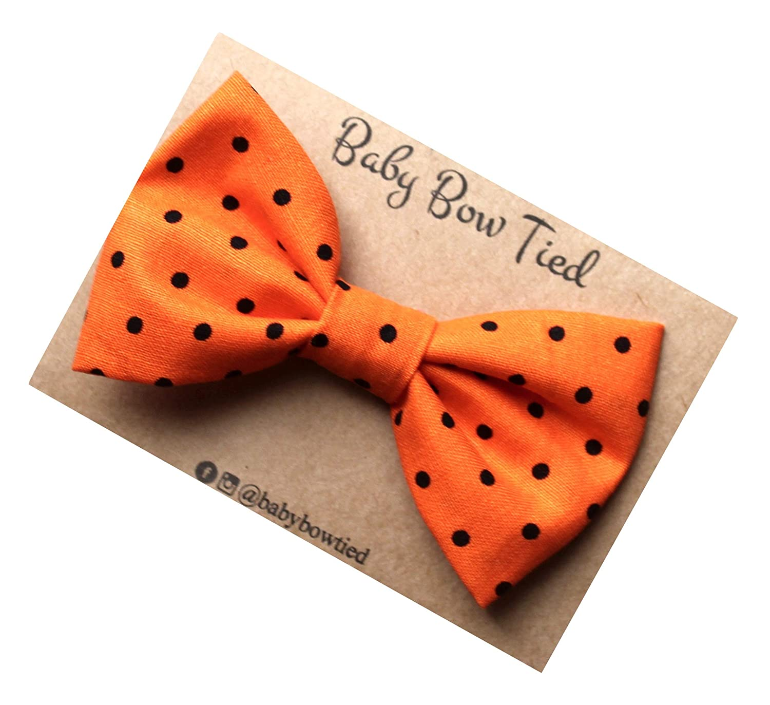 Handmade Orange Polka Dot Pre-Tied Clip on Bow Tie for Baby/Toddler