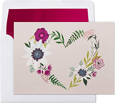 Thank You Cards, Valentines Day Cards, All Occasion Cards Hallmark Pack of 10 Blank Cards with Envelopes Floral Wreath Heart